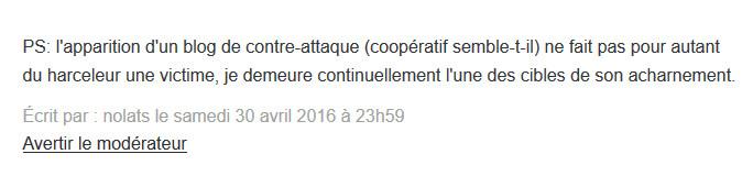 Nolats harcelement chez Clairvaux 2016-04-30